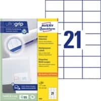 AVERY Zweckform Multifunctionele Etiketten 3652 Ultragrip Wit 70 x 42,3 mm 100 Vellen à 21 Etiketten