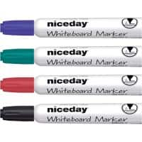 Niceday WBM2.5 Whiteboard Marker Medium Ronde Punt Kleurenassortiment 4 Stuks