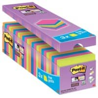 Post-it Super Sticky Notes 76 x 76 mm Neon Kleuren 90 Vellen Voordeelpak 21 + 3 GRATIS