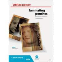 Pochettes de plastification Office Depot Brillant 2 x 250 (500) Micron Transparent 100 Unités